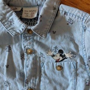Zara Boy's size 3/4 Mickey Mouse button down
